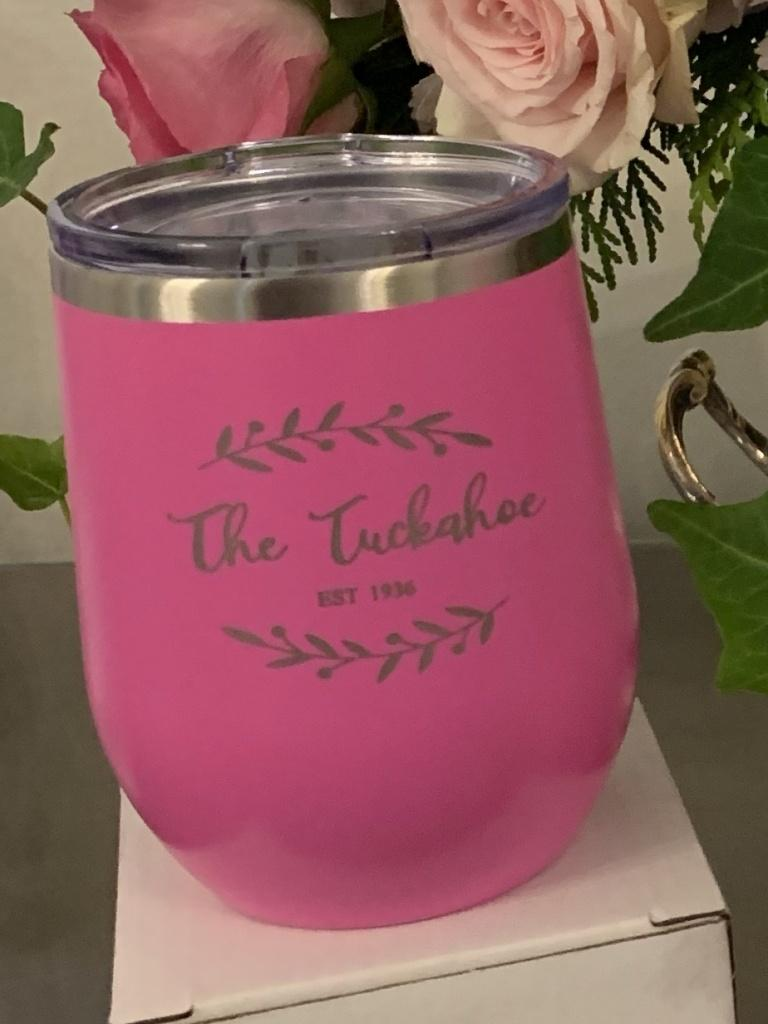 "Pink tumbler with text that reads ""The Tuckahoe Woman's Club"""